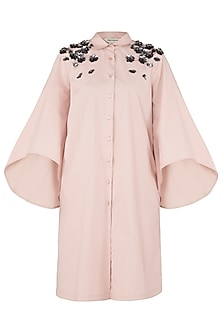 Blush Pink Embroidered Shoulder Shirt Dress