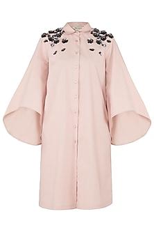 Blush Pink Embroidered Shoulder Shirt Dress