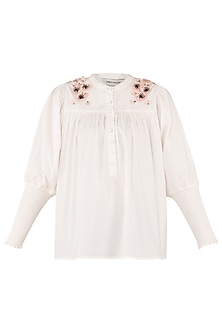 White Embroidered Gathered Shirt