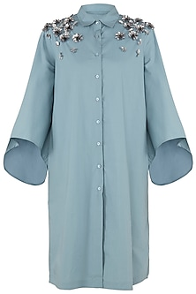 Dusty Blue Embroidered Shirt Dress