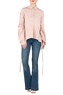 Blush Pink Asymmetrical Shirt by Dhruv Kapoor
