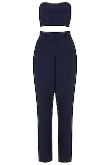 Navy Blue Blazer with Tube Top and Trousers