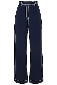 Navy Blue Wide Legged Side Snap Button Pants
