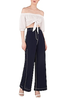 Navy Blue Wide Legged Side Snap Button Pants by Dhruv Kapoor