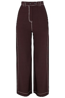 Wine Wide Legged Side Snap Button Pants