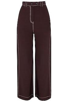 Wine Wide Legged Side Snap Button Pants