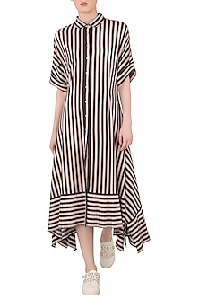 Red Striped Maxi Dress by Dhruv Kapoor