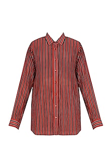 Red Striper Shoulder Pad Classic Shirt by Dhruv Kapoor