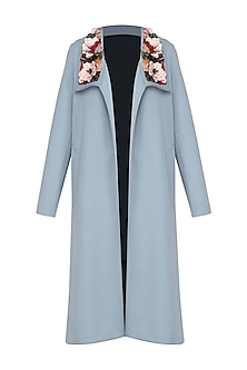 Dusty Blue Embroidered Collar Trench Coat