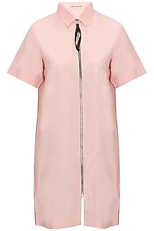 Pink Zip Up Long Shirt