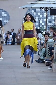 Lemon yellow, blue and black high rise handkerchief dress by Dhruv Kapoor
