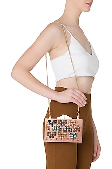 Multi-Colour Geometric Swarovski Crystal Cubes and Wooden Clutch