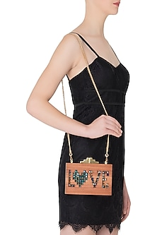 Multi-Coloured 'Love' Embellished Wooden Clutch by Duet Luxury