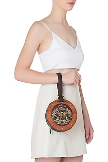 Brown and Orange Circular Embroidered Clutch
