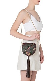 Brown Embroidered Tassel Clutch by Duet Luxury