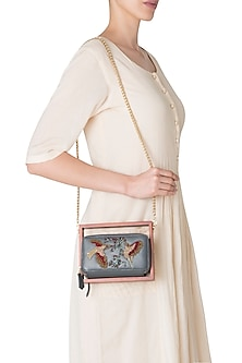 Grey Wood and Leather Embroidered Clutch
