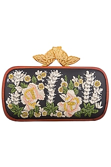 Black floral embroidered clutch bag by Duet Luxury