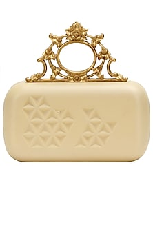 "Cream and gold ""Ornate"" rectangular box clutch by Duet Luxury"