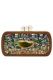Walnut and green rectangular box clutch by Duet Luxury