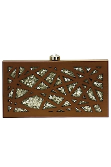 """Walnut and gold """"Cut it out"""" rectangular box clutch by Duet Luxury"""