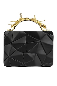 Black Asymmetric Grasshopper Clutch by Duet Luxury