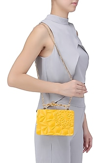 Yellow Floral Firefly Clutch by Duet Luxury