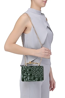 Olive Green Floral Firefly Clutch