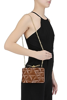 Dark Brown Triangle Dragonfly Clutch