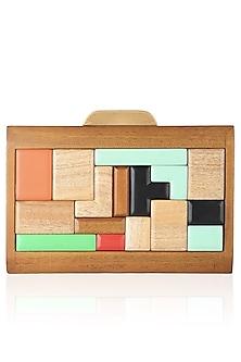 Multicolor Blocks Wood Frame Rectangular Box Clutch by Duet Luxury