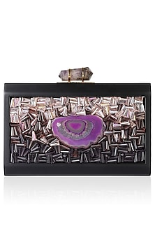 Black Frame Crystal And Purple Rock Embellished Rectangular Box Clutch by Duet Luxury