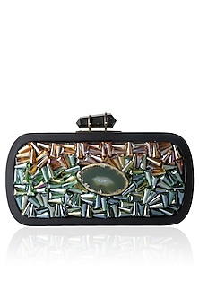 Black Frame Crystal And Green Rock Embellished Rectangular Box Clutch by Duet Luxury