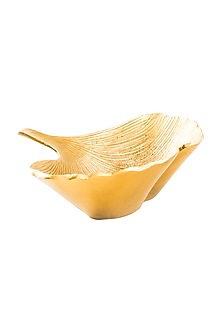 Gold Aluminium Vein Leaf Bowl by Metl & Wood