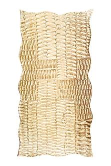 Gold Aluminium Intricate Zig-Zag Textured Platter by Metl & Wood