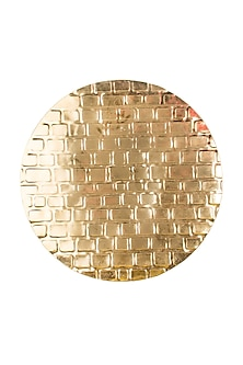 Gold Aluminum Brick-Textured Platter by Metl & Wood