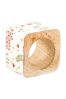 White Wood Nature Inspired Napkin Ring by Metl & Wood
