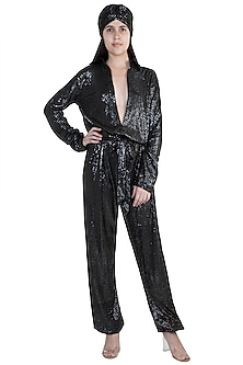 Black Sequins Jumpsuit by Deme by Gabriella