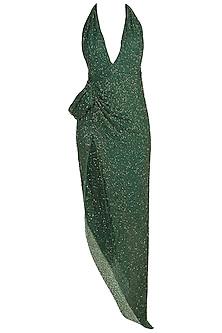 Green Beaded Chiffon Dress by Deme by Gabriella