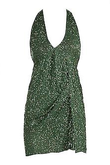 Green Beaded Mini Dress by Deme by Gabriella