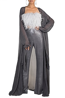 Grey Feathered Crop Top With Pants & Cape by Deme by Gabriella