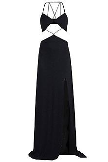 Black Bikini Cut-Out Shimmery Dress by Deme by Gabriella