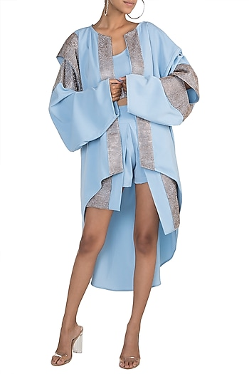 Blue Crop Top With Shorts & Oversized Jacket by Deme by Gabriella