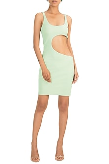 Mint Waist Cut-Out Shimmery Dress by Deme by Gabriella