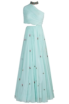 Mint one shoulder gown
