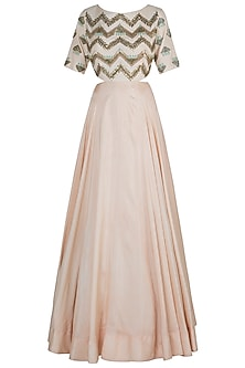 Peach side cut gown by DINESH MALKANI