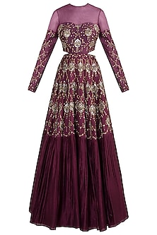Wine embroidered gown
