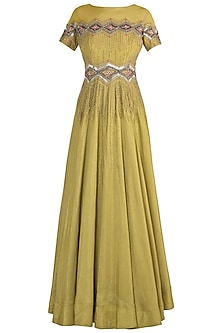 Olive zigzag gown