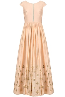 Peach Sequins Embroidered Anarkali Set