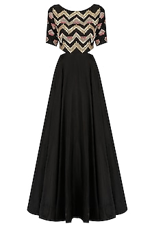 Black and Gold Embroidered Side Cutout Gown by Dinesh Malkani