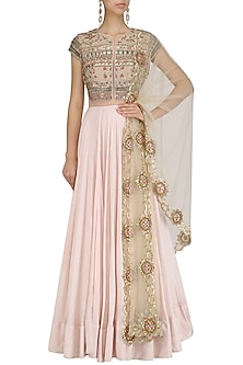 Pink Floral Embroidered Kalidaar Gown by Dinesh Malkani