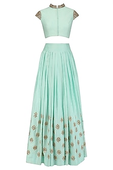 Mint Embroidered Blouse and Flared Skirt Set